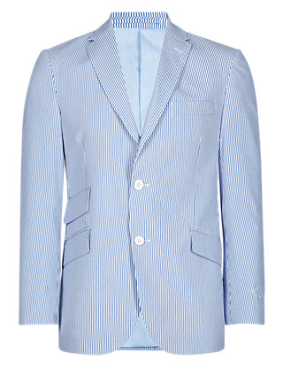 Tailored Fit 2 Button Striped Seersucker Jacket Clothing