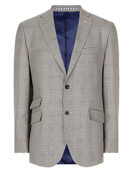 Pure New Wool Prince of Wales 2 Button Check Jacket