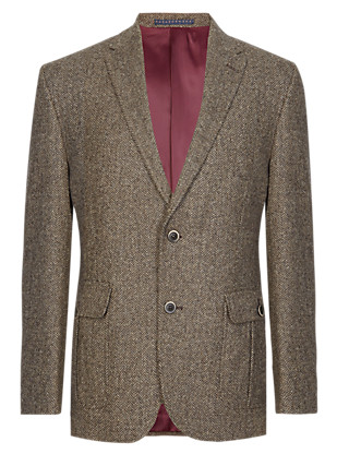 Pure Wool Tailored Fit 2 Button Herringbone Jacket Clothing