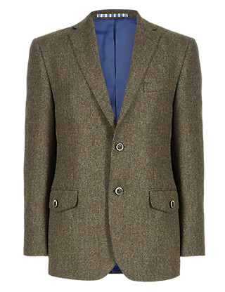 Pure New Wool 2 Button Herringbone Jacket Clothing