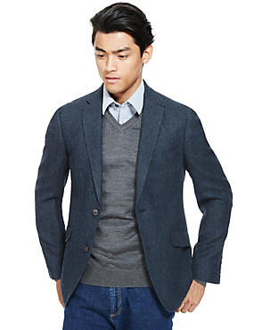 Pure New Wool Tailored Fit 2 Button Herringbone Jacket