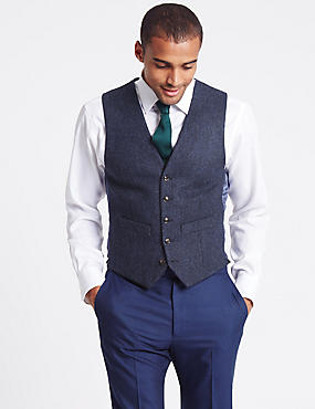 Pure New Wool Tailored Fit Herringbone 5 Button Waistcoat