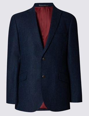 Bright Blue Pure New Wool Herringbone 2 Button Jacket Outfit