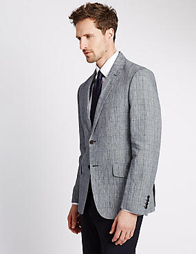 Pure Linen Prince of Wales Check Deconstructed 2 Button Jacket