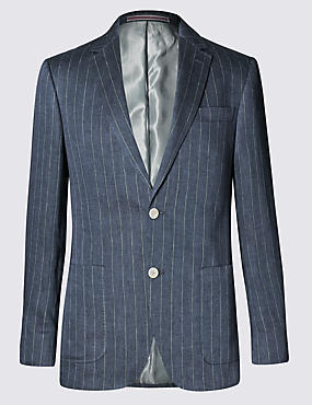 Pure Linen Tailored Fit 2 Button Boating Striped Jacket