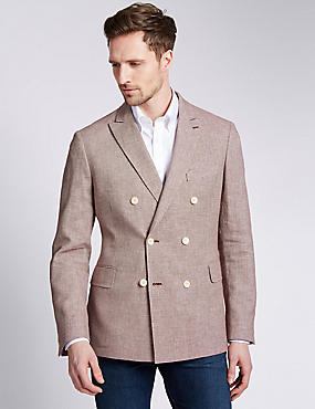 Linen Blend Tailored Fit Birdseye Double Breasted Jacket