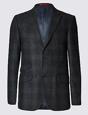 Wool Blend Tailored Fit Check 2 Button Subtle Jacket