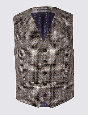 Pure Wool Checked Waistcoat with Buttonsafe™l
