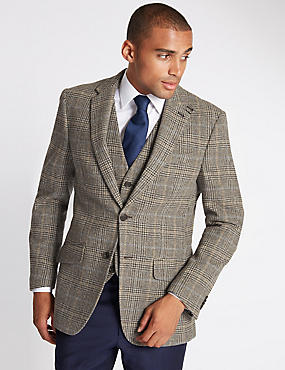Pure Wool Grey Checked Jacket with Buttonsafe™
