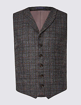 Pure Wool Checked Waistcoat with Buttonsafe™