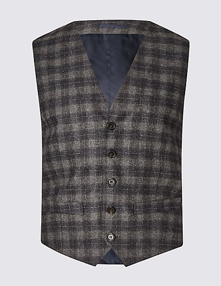 Wool Rich Tailored Fit Revere Checked Waistcoat