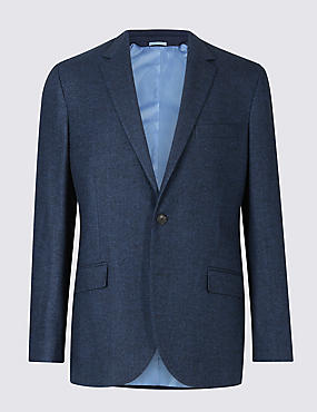 Wool Blend Herringbone Tailored Fit Jacket, BRIGHT BLUE, catlanding