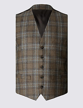 Pure Wool Prince of Wales Large Check Waistcoat