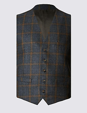 Wool Rich Tailored Fit Grid Overchecked Waistcoat with Cashmere