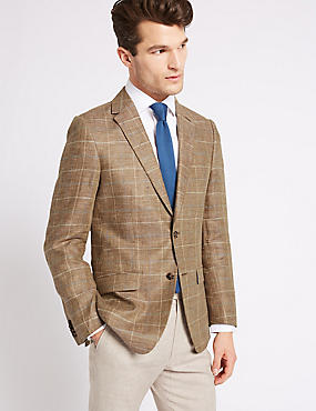 Pure Linen Regular Fit Checked Jacket, NEUTRAL, catlanding