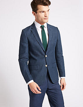 Pure Linen Slim Fit Jacket, DARK BLUE, catlanding