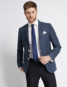 Navy Pure Linen Striped Tailored Fit Jacket
