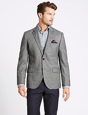 Pure Wool Tailored Fit Herringbone Jacket