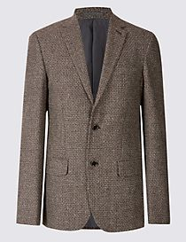 Wool Rich Basket Weave Jacket