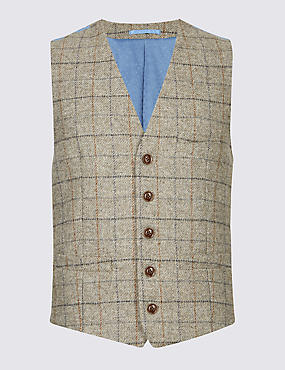 Pure Wool Checked Tailored Fit Waistcoat