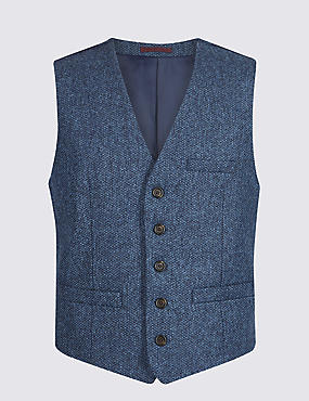 Pure Wool Textured Tailored Fit Waistcoat