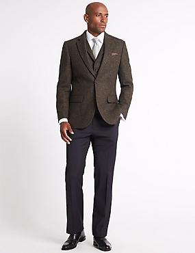Pure Wool Textured Jacket, BROWN, catlanding