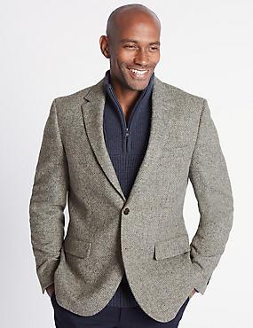 Pure Wool Barleycorn Jacket, NEUTRAL, catlanding