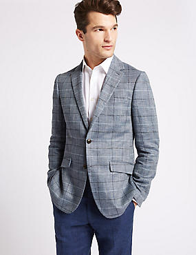 Pure Linen Tailored Fit Checked Jacket, LIGHT BLUE, catlanding