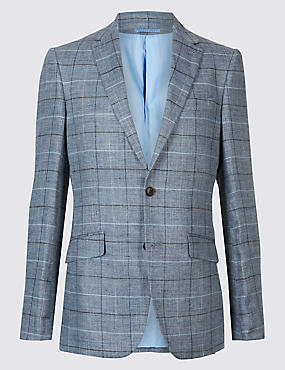 Pure Linen Tailored Fit Checked Jacket