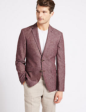 Linen Blend Tailored Fit Textured Jacket, RASPBERRY, catlanding