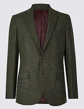 Textured Tailored Fit Jacket, GREEN, catlanding
