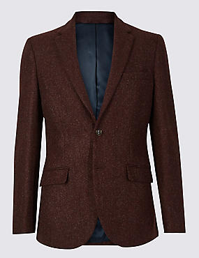 Textured Tailored Fit Jacket, RUST, catlanding