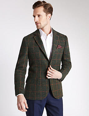 Pure Wool 2 Button Checked Jacket with Buttonsafe™