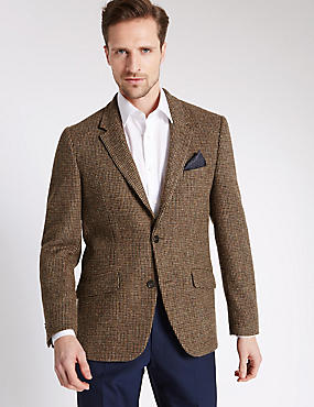 Pure Wool Regular Fit Harris Tweed Jacket