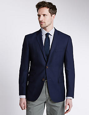 Pure New Wool Tailored Fit 2 Button Blazer