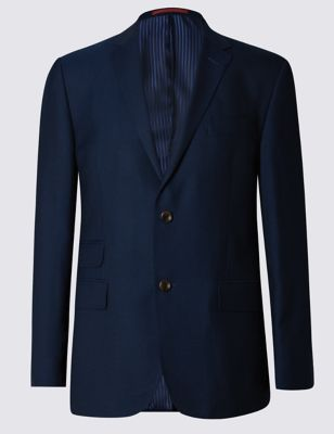 Navy Pure New Wool Tailored Fit 2 Button Blazer Outfit