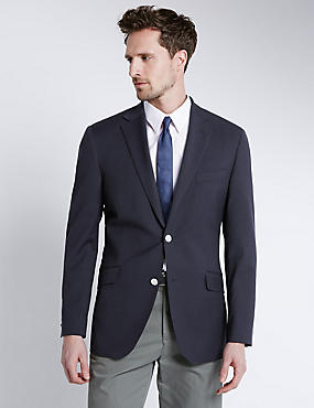 Performance Wool Blend 2 Button Blazer with Odegon™, NAVY, catlanding