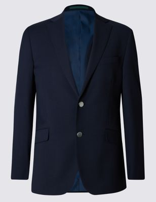 Navy Performance Wool Blend 2 Button Blazer with Odegon™ Outfit