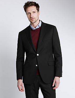 Performance Wool Blend 2 Button Blazer with Odegon™, BLACK, catlanding