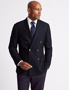 Textured Pure Wool Jacket, NAVY, catlanding
