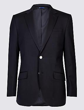 Textured Regular Fit Jacket, NAVY, catlanding
