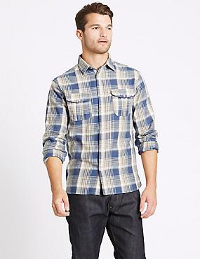Pure Cotton Checked Shirt with Pocket, INDIGO MIX, catlanding