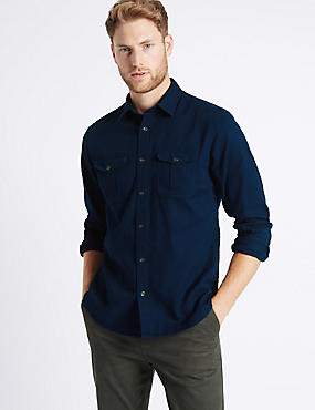 Pure Cotton Shirt with Pockets, NAVY, catlanding