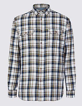 Pure Cotton Checked Shirt with Pockets, ECRU MIX, catlanding