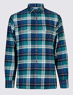 Pure Cotton Checked Shirt with Pocket, PETROL GREEN, catlanding