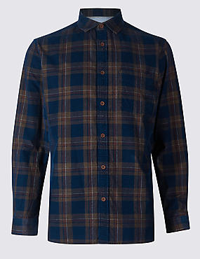 Pure Cotton Checked Shirt with Pocket, INDIGO MIX, catlanding