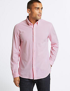 Cotton Rich Slim Fit Shirt , PINK, catlanding