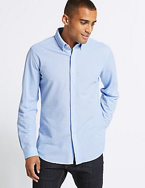 Cotton Rich Slim Fit Shirt , LIGHT BLUE, catlanding