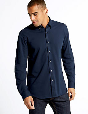 Cotton Rich Slim Fit Shirt , NAVY, catlanding