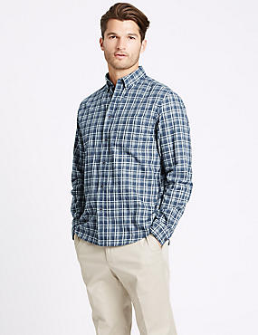 Brushed Cotton Checked Shirt , NAVY MIX, catlanding